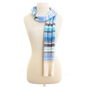 Blue White Striped Wool Scarf